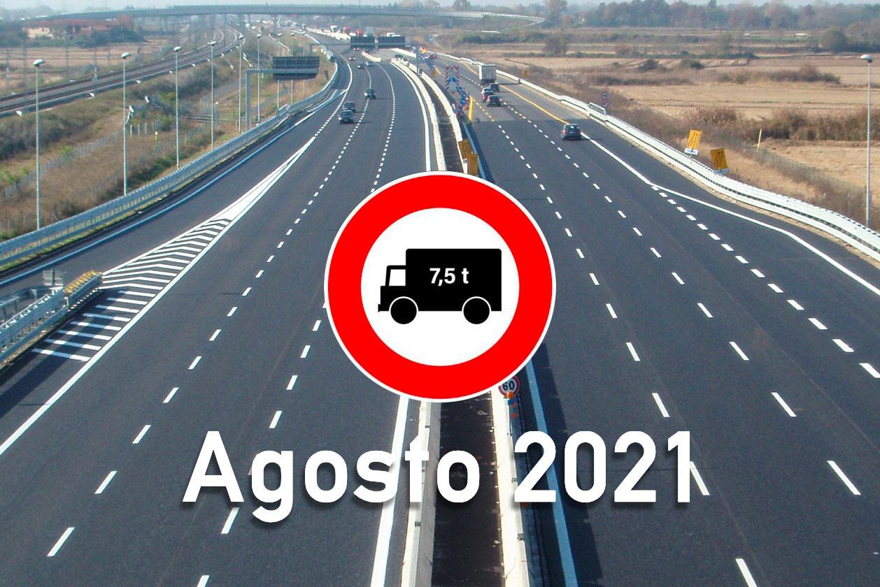 Divieti dei mezzi pesanti in agosto 2021